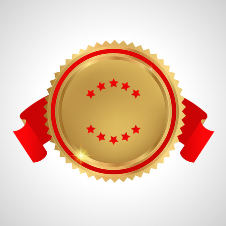 Golden medal with red ribbons Vector