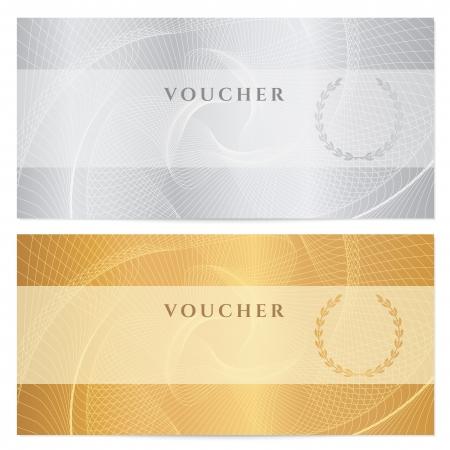 certificado: Antecedentes para el billete, el dise�o de dinero, moneda, billete de banco, cheque cheque, boleto de oro, de plata. Vectores