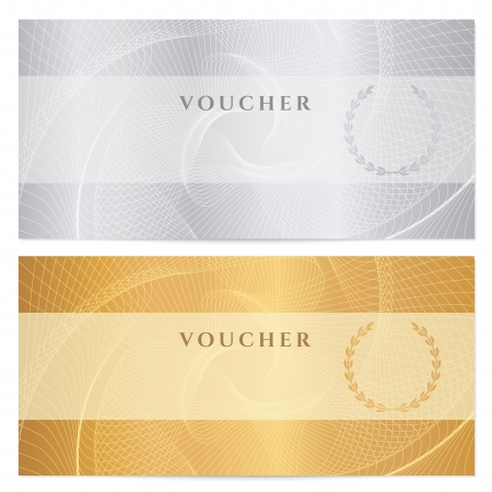 Background for banknote, money design, currency, bank note, check  cheque , ticket  Gold, silver. Ilustracja