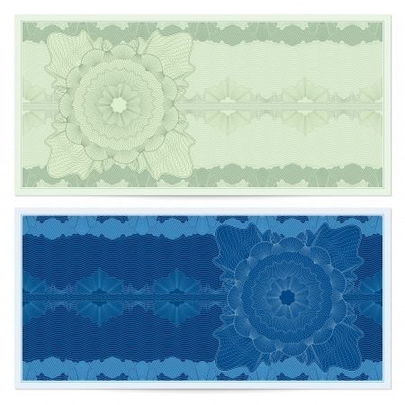 Background for banknote, money design, currency, bank note, check  cheque , ticket  Green, blue. Vettoriali