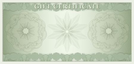Voucher, Gift certificate, Coupon, ticket template  Guilloche pattern  watermark, spirograph   Background for banknote, money design, currency, bank note, check  cheque , ticket  Green vector