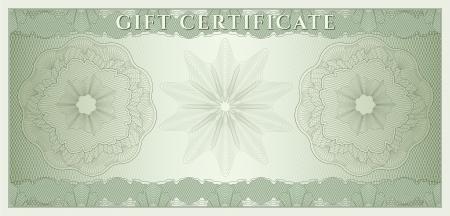guilloche pattern: Vale, certificado de regalo, cup�n, ticket plantilla de garant�a de marca de agua, spirograph Fondo para el billete, dise�o de dinero, moneda, billete de banco, cheque cheque, ticket vector verde