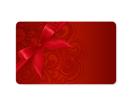Gift coupon, gift card  discount card, business card  with floral  scroll, swirl  dark red swirl pattern  tracery   Holiday background design for Valentine s Day, voucher, invitation, ticket  Vector