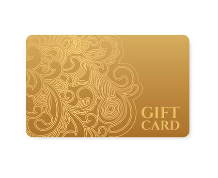 꽃 스크롤 상품권, 기프트 카드 할인 카드, 명함, 카드를 호출 소용돌이 골드 소용돌이 무늬 창살 배경 디자인, 상품권, 초대장, 티켓 등 벡터