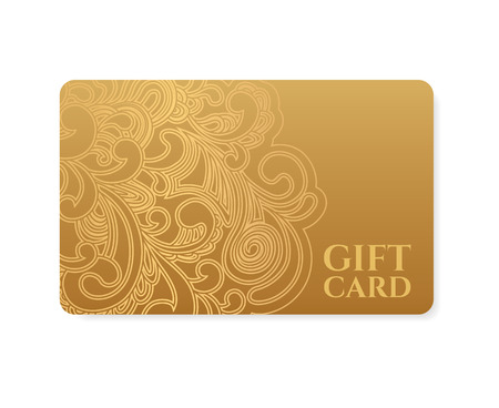 Gift coupon, gift card  discount card, business card  with floral  scroll, swirl  gold swirl pattern  tracery   Background design for calling card, voucher, invitation, ticket etc  Vector Illustration