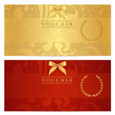 template frame: Voucher, Gift certificate, Coupon template  Floral, scroll pattern  bow, frame   Background design for invitation, ticket, banknote, money design, currency, check  cheque   Red, gold