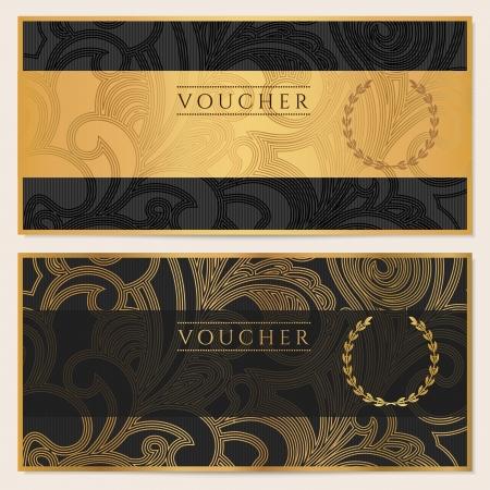 바우처, 상품권, 쿠폰 템플릿 꽃, 스크롤 패턴 나비, 초대장, 티켓, 지폐, 돈 디자인, 통화에 대한 프레임 배경 디자인, 블랙, 골드 체크