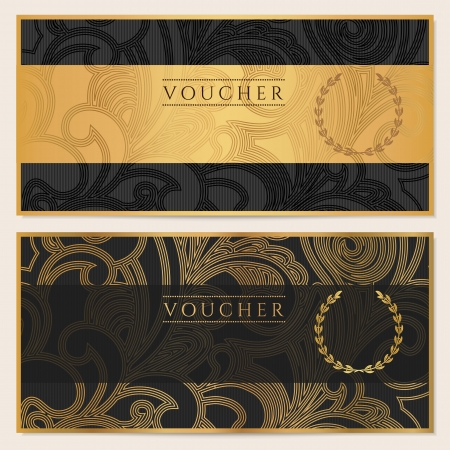 gold money: Voucher, Gift certificate, Coupon template  Floral, scroll pattern  bow, frame   Background design for invitation, ticket, banknote, money design, currency, check  cheque   Black, gold