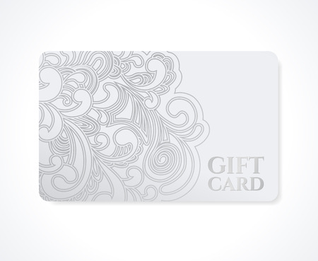 Gift coupon, gift card  discount card, business card  with floral  scroll , swirl pattern  tracery   Silver background design for calling card, voucher, invitation, ticket etc.