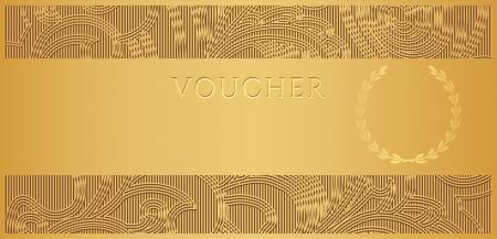 geschenkgutschein: Gutschein, Geschenkgutschein, Gutschein-Vorlage mit floralen bl�ttern muster, rahmen, grenze Hintergrund Design f�r die Einladung, Ticket, Banknote, Geld-Design-, W�hrungs-, Scheck �berpr�fen.