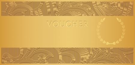 cheque: Voucher, Gift certificate, Coupon template with floral, scroll pattern, frame, border  Background design for invitation, ticket, banknote, money design, currency, check  cheque.