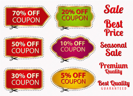 Set  Sale Coupons, labels  banner, tag  template  layout  with gold frame, dotted line  dash line , cutting scissors  cut off   Design for sticker, web ad, ticket etc.