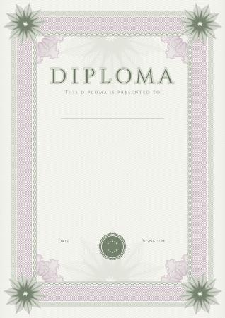 guilloche pattern: Certificado, Diploma de la plantilla de dise�o de la terminaci�n, el fondo de garant�a de con marca de agua, roset�n, frontera, marco Certificado Verde de Logro, cupones, premios y ganador Vectores