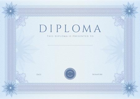 guilloche pattern: Certificado, Diploma de la plantilla de dise�o de la terminaci�n, el fondo de garant�a de con marca de agua, roset�n, frontera, marco azul Certificado de Logro, cupones, premios y ganador