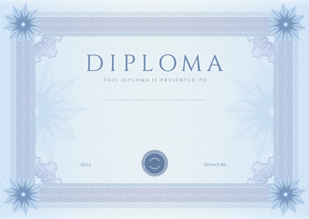 diploma border: Certificate, Diploma of completion  design template, background  with guilloche pattern  watermark, rosette , border, frame  Blue Certificate of Achievement, coupon, awards and winner Illustration