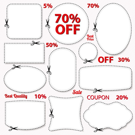 ad: Set  Sale Coupon, labels  banner, tag  template  layout  with blank frame, dotted line  dash line , percent, cutting scissors  cut off   Design for sticker, ad, discount ticket Illustration