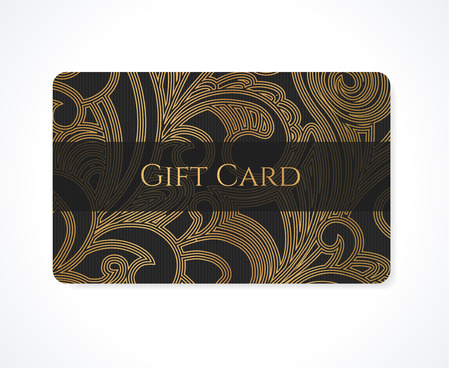 curlicue: Gift card  discount card, business card, Gift coupon, calling card  with gold floral  scroll , swirl pattern  tracery   Black background design for calling card, voucher, invitation and ticket.