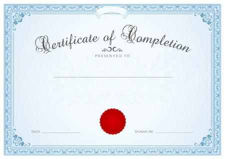 Certificat, diplôme de modèle pour la conception d'achèvement, avec fond guilloché motif filigrane, frontière, cadre bleu certificat de réussite, un certificat de l'enseignement, coupon, prix, gagnant