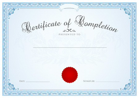 diploma border: Certificate, Diploma of completion  design template, background  with guilloche pattern  watermark , border, frame  Blue Certificate of Achievement, Certificate of education, coupon, awards, winner Illustration