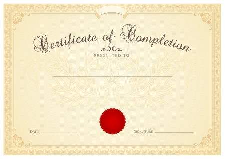 인증서, 완료 디자인 템플릿, 꽃 패턴 워터 마크, 테두리, 성취의 프레임 브라운 증명서, 교육 증명서, 쿠폰, 수상, 우승자 배경 디플로마