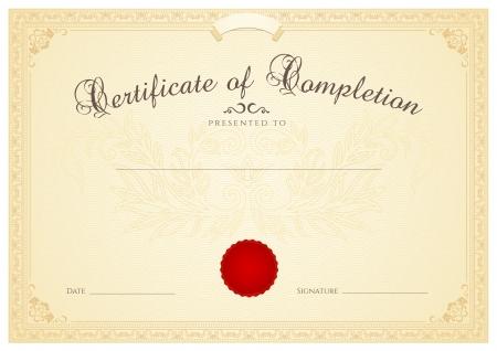 completion: Certificado, Diploma de finalizaci�n plantilla de dise�o, fondo con flores patr�n de marca de agua, frontera, marco de Brown Certificado de Aprovechamiento, certificado de educaci�n, cupones, premios, ganador