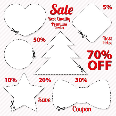 cut off: Vector set  Sale Coupon, labels  banner, tag  white template  vector design, layout  with blank frame, dotted line  dash line , red percent, scissors  cut off, cutting   Holiday design  Save money, get discount