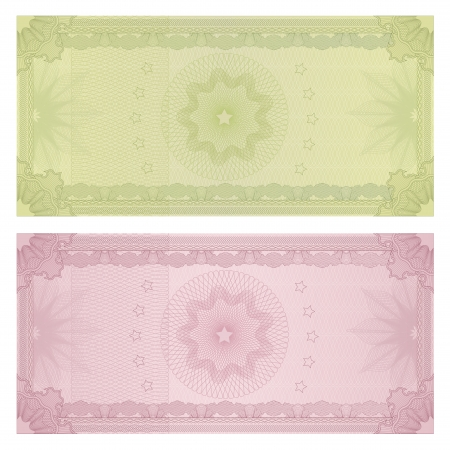 checkbook: Voucher, Gift certificate, Coupon, ticket template  Guilloche pattern  watermark, spirograph   Background for banknote, money design, currency, bank note, check  cheque , ticket Illustration