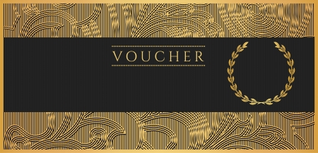 fake money: Voucher, Gift certificate, Coupon template  Floral, scroll pattern  bow, frame   Background design for invitation, ticket, banknote, money design, currency, check  cheque   Black, gold vector