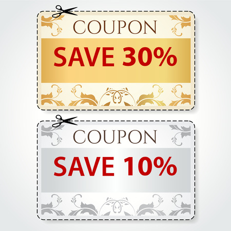 Sale Coupon, labels  banner, tag  gold, silver template  vector design, layout  with floral frame, pattern, dotted line  dash line , red percent, scissors  cut off, cutting   Save money, get discount Vector