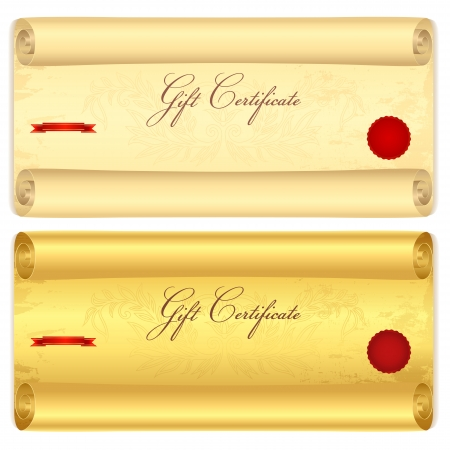 valuta: Gift certificate, Voucher, Coupon, template  Scroll with swirl pattern  old paper texture   Vintage background for treasure paper  antique roll, volume , cheque, ticket  Gold vector