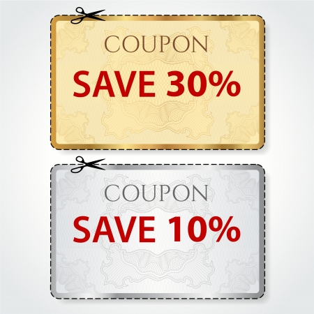Sale Coupon, voucher, tag  Gold, silver template  vector design  with Guilloche pattern, frame, dotted line  dash line , red percent, scissors  cut off, cutting   Save money, get discount Vettoriali