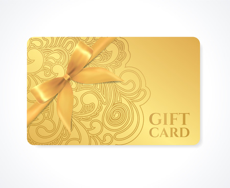 Gift coupon, gift card  discount card, business card  with floral  scroll, swirl  gold swirl pattern  tracery , bow  ribbon   Holiday background design for invitation, ticket  Vector