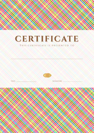 cellule: Certificate, Diploma of completion  design template, background  with diagonal cell pattern  stripe pattern , frame  Colorful Certificate of Achievement, Certificate of education, awards, winner