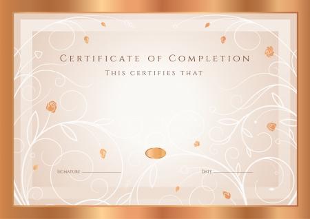 completion: Certificado de finalizaci�n plantilla de dise�o Diploma, fondo de oro floral, patr�n de remolino, flores rosas, marco Certificate of Achievement Bronce, cup�n, premio, ganador