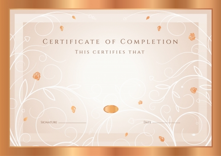 completion: Certificate of completion, Diploma   design template, background  with gold floral, swirl pattern, flowers  roses , frame  Bronze Certificate of Achievement, coupon, award, winner