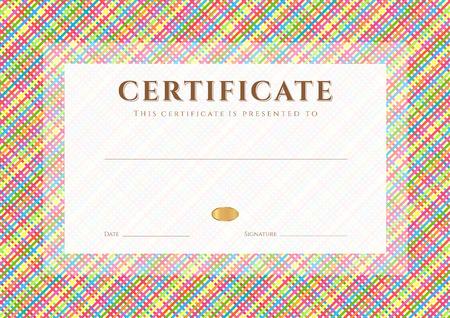 인증 완료 디자인 템플릿, 대각선 셀 패턴 스트라이프 패턴, 성취의 프레임 다채로운 증명서, 교육의 인증서, 수상, 승자와 배경 디플로마 일러스트