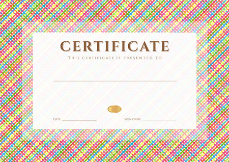 Certificate, Diploma of completion  design template, background  with diagonal cell pattern  stripe pattern , frame  Colorful Certificate of Achievement, Certificate of education, awards, winner