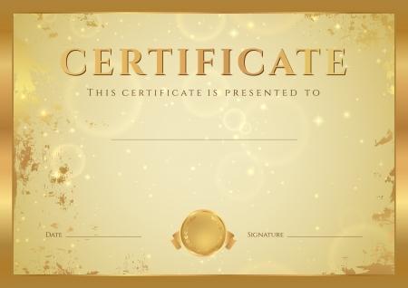 completion: Certificado de finalizaci�n plantilla de dise�o Diploma, fondo grunge con oro, modelo antiguo, estrellas, marco de oro certificado de aprovechamiento, cup�n, premio, ganador