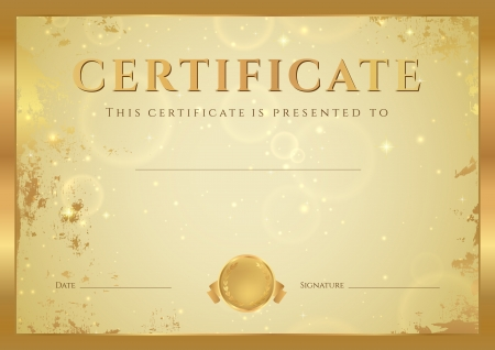 certificates: Certificate of completion, Diploma  design template, background  with gold grunge, old pattern, stars, frame  Golden Certificate of Achievement, coupon, award, winner
