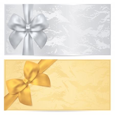 coupon: Gutschein, �berpr�fen Sie Geschenk-Gutschein, Coupon Vorlage Alte Muster mit Gold Bug Silber Hintergrund Design f�r die Einladung, Ticket, Banknote, Geld-Design-, W�hrungs-, Scheck-Vektor