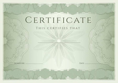 Certificate, Diploma of completion  design template, background  with guilloche pattern  watermark , rosette, border, frame  Green Certificate of Achievement   education, coupon, award, winner  Vector