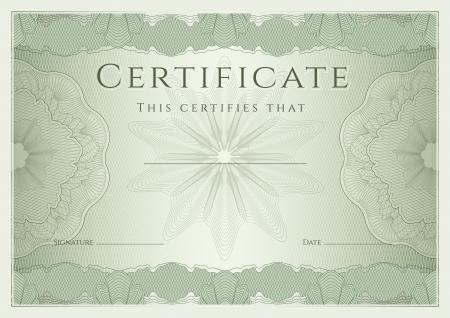 completion: Certificado, Diploma de la plantilla de dise�o de la terminaci�n, el fondo de garant�a de con marca de agua, roset�n, frontera, marco Certificado Verde de la educaci�n Logro, cup�n, premio, ganador Vector