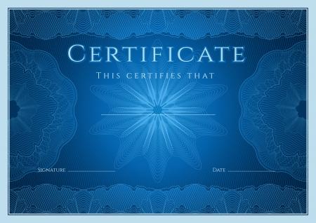 completion: Certificado, Diploma de la plantilla de dise�o de la terminaci�n, el fondo de garant�a de con marca de agua, roset�n, frontera, marco azul Certificado de la educaci�n Logro, cup�n, premio, ganador Vector Vectores