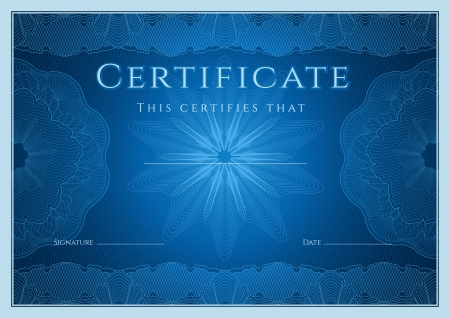 Certificate, Diploma of completion  design template, background  with guilloche pattern  watermark , rosette, border, frame  Blue Certificate of Achievement   education, coupon, award, winner  Vector