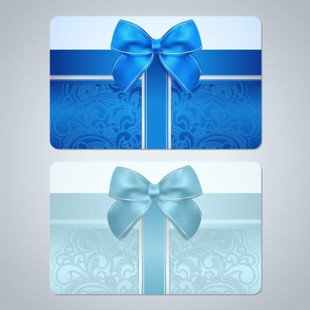 azul turqueza: Azul, tarjeta de regalo tarjeta de descuento turquesa, tarjeta de visita con el desfile floral, remolino patr�n tracer�a, Bow, dise�o de fondo de la cinta para cupones de regalo, vales, invitaci�n, billete etc Vector Vectores