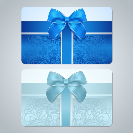 discount card: Blue, turquoise gift card  discount card, business card  with floral  scroll, swirl  pattern  tracery , Bow, ribbon  Background design for gift coupon, voucher, invitation, ticket etc  Vector Illustration