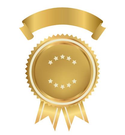 Premio, Emblema, Badge per il certificato, diploma, pagina web medaglia d'oro con il nastro d'oro segno del vincitore del premio di primo premio di qualità, migliore prezzo, scelta, garanzia, migliore venditore vettoriale isolato Archivio Fotografico - 23459969