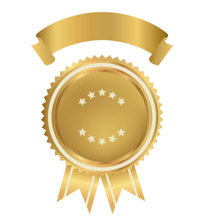 Award, Insignia, Badge for certificate, diploma, web page  Golden medal with gold ribbon  sign of winner   Prize of First  Premium quality, Best price, choice, guarantee, Best seller  Isolated vector