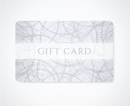 gift tag: Gift coupon, gift card  discount card, business card  with abstract pattern  circles   Silver background design for calling card, voucher, invitation, ticket  Illustration