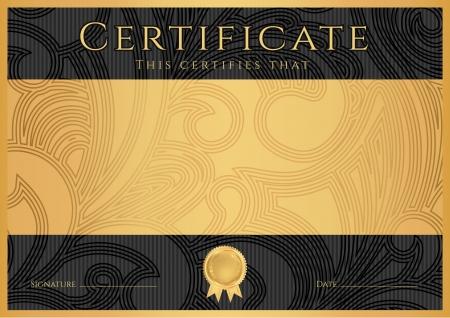 diploma: Certificado, Diploma de finalizaci�n plantilla de dise�o negro, fondo oscuro con flores, patr�n de filigrana, desplazarse frontera, marco Certificado de Oro de Logro, cup�n, premio, certificado de ganador